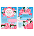 posters for spring holiday of roses flowers vector image
