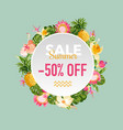 summer sale tropical flowers banner for discount vector image