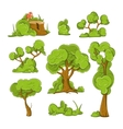 Cartoon trees and bushes set vector image