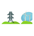 metal tower for wires and wind generations on vector image