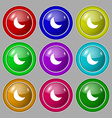 moon icon sign symbol on nine round colourful vector image