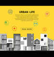 Residential banner and flat icon for web design vector image