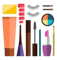 Set of flat cosmetics vector image