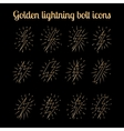 Golden thin line lightning bolts set vector image