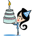 Girl with birthday cake vector image vector image