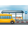 A yellow school bus and the three kids vector image vector image