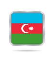 flag of azerbaijan metallic gray square button vector image