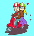 Lovely couple riding a red scooter vector image