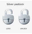 Cartoon silver padlock Lock and unlock vector image