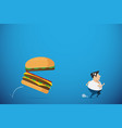 fat man running away from burger health concept vector image