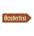 Oktoberfest road wooden sign icon vector image