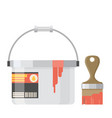 paint can with brush vector image