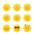 Sun emoticons collection vector image