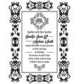 vintage baroque style wedding invitation card vector image
