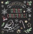 Vintage Christmas Chalkboard Hand Drawn Set vector image