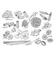 hand drawn pasta set Vintage line art vector image