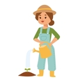 Woman with watering can vector image