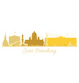 Saint Petersburg City skyline golden silhouette vector image