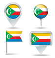 Map pins with flag of Comoros vector image