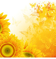 orange background with sunflowers and butterfliesc vector image vector image