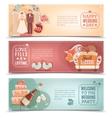 Wedding concept flat banners set vector image