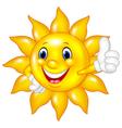 Cartoon sun giving thumbs up isolated vector image