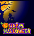background with castle bat an evil pumpkin and vector image