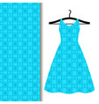 Dress fabric pattern with blue pattern vector image