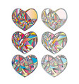 hearts hand drawn background abstract vector image