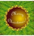 Round Christmas fir template on background vector image