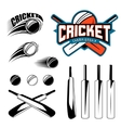Set of cricket sports template logo elements - vector image