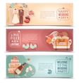 Wedding concept flat banners set vector image