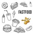 Set of black and white hand drawn fast food vector image