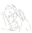 Parents with a newborn vector image