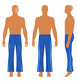 full length man silhouette figure in flare pants vector image
