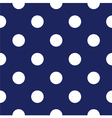 Seamless dark blue pattern with white polka dots vector image