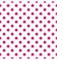 Tile pattern pink polka dots on white background vector image