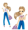 Bisness Girl In Blue Trousers vector image