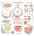 Doodle Holiday set with flowersswirling decor vector image