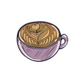 hand drawn of coffee cup vector image
