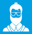 hipsster man icon white vector image