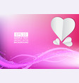 pink lines wave and heart abstract background vector image