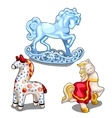 Set of ice ceramic and clay toy horse isolated vector image