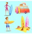 Surfing Retro Cartoon 2x2 Icons Set vector image