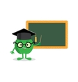 green apple standing near blackboard with a vector image