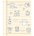 Paper of love theme doodles vector image