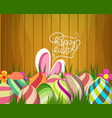 easter greeting card with colorful eggs on wood vector image