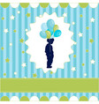 Boy with balloon blue wallpaper vector image