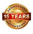 15 years anniversary golden label with ribbon vector image
