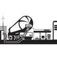 Tank truck loading gas station with fuel vector image vector image